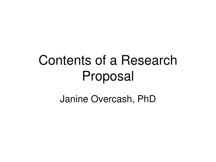 Ppt Contents Of A Research Proposal Powerpoint Presentation Id