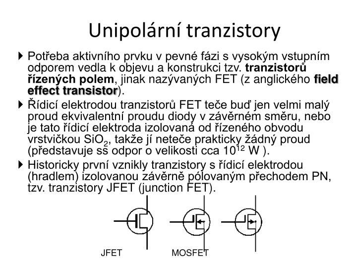 Unipolární tranzistory