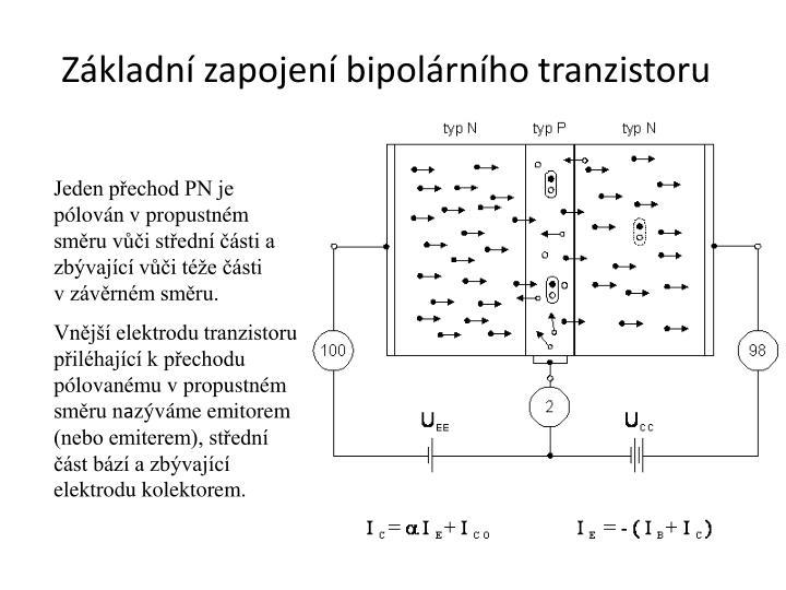 Základní zapojení bipolárního tranzistoru