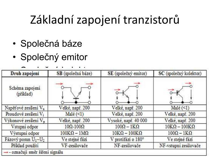 Základní zapojení tranzistorů