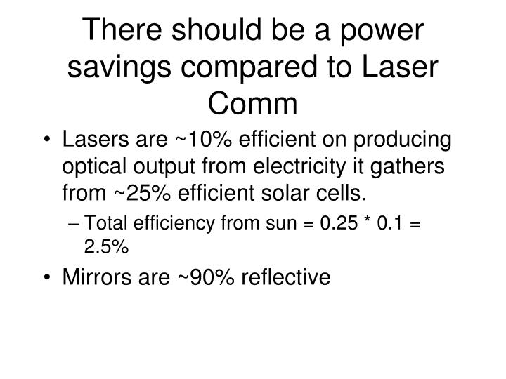 There should be a power savings compared to Laser Comm