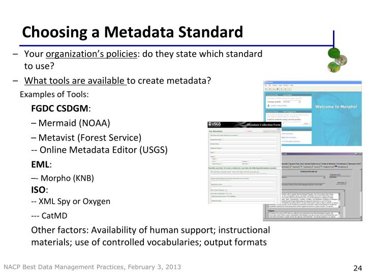 Choosing a Metadata Standard
