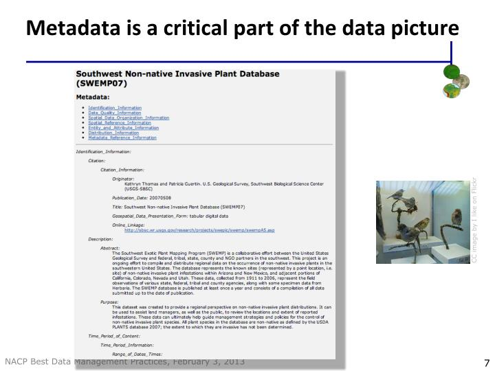 Metadata is a critical part of the data picture