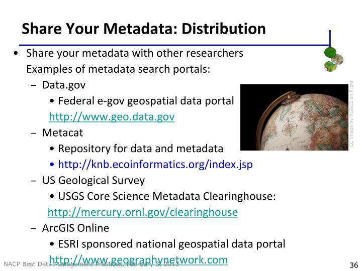 Share Your Metadata: Distribution