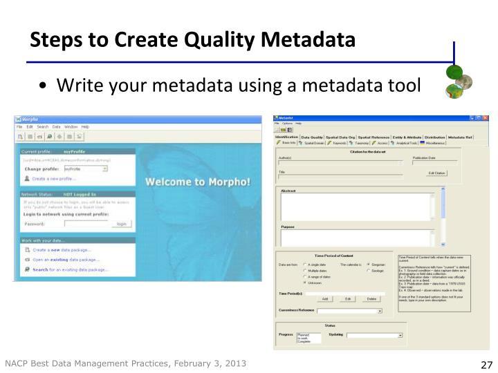 Steps to Create Quality Metadata