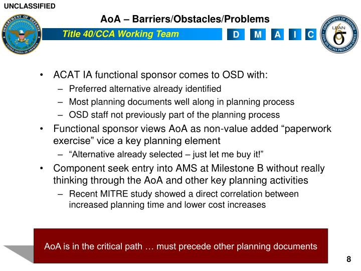 AoA – Barriers/Obstacles/Problems
