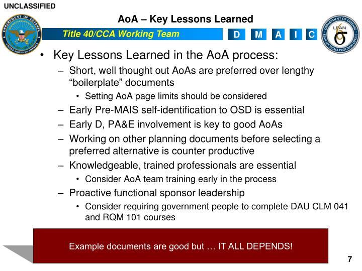 AoA – Key Lessons Learned