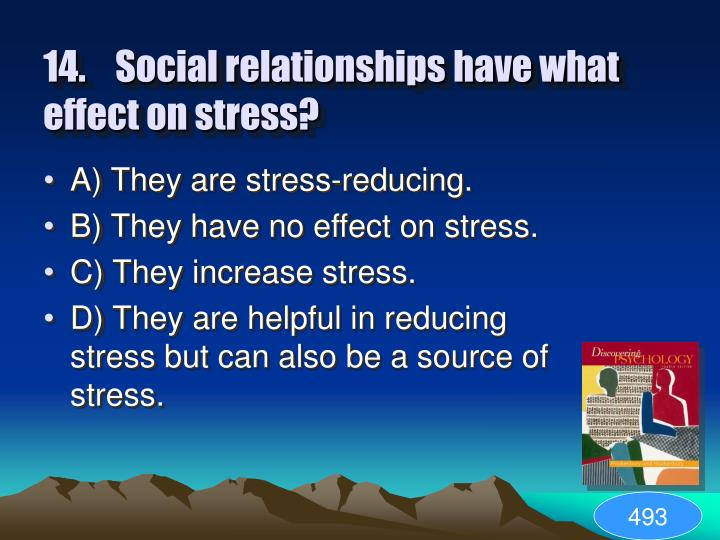 14.Social relationships have what effect on stress?