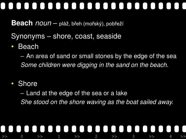 Synonyms – shore, coast, seaside
