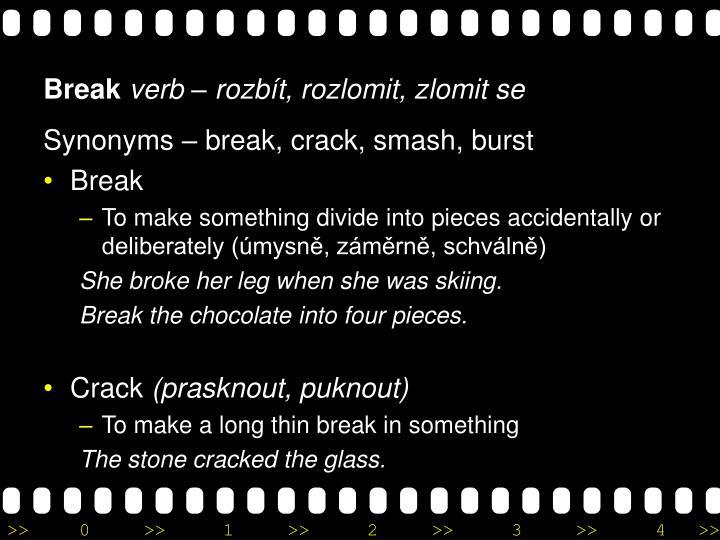 Synonyms – break, crack, smash, burst