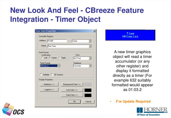 New Look And Feel - CBreeze Feature Integration - Timer Object
