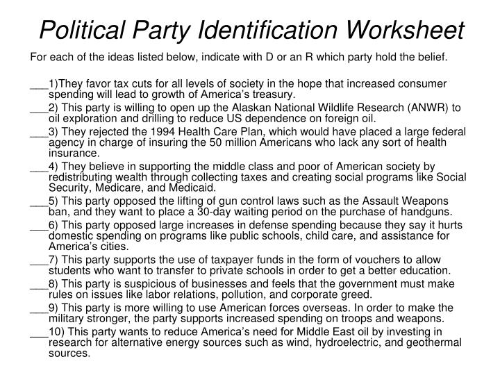 political party identification worksheet resultinfos. Black Bedroom Furniture Sets. Home Design Ideas