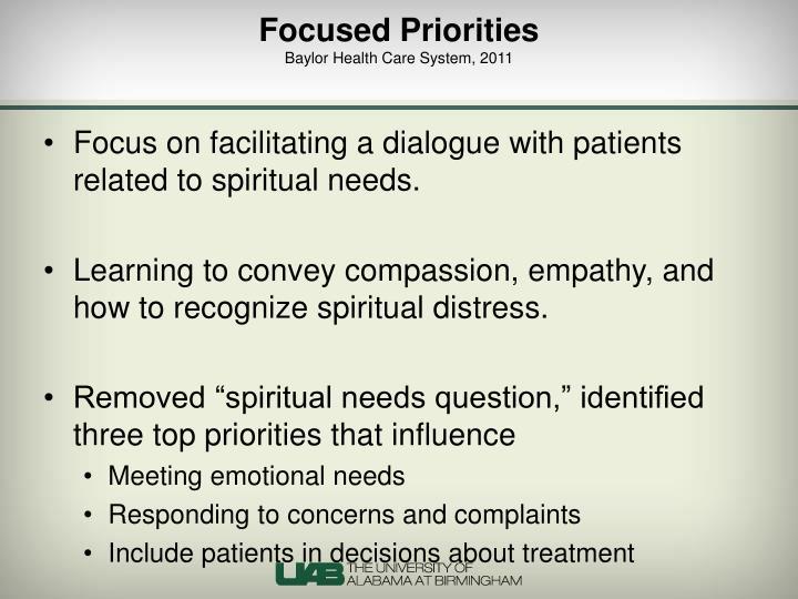 Focused Priorities