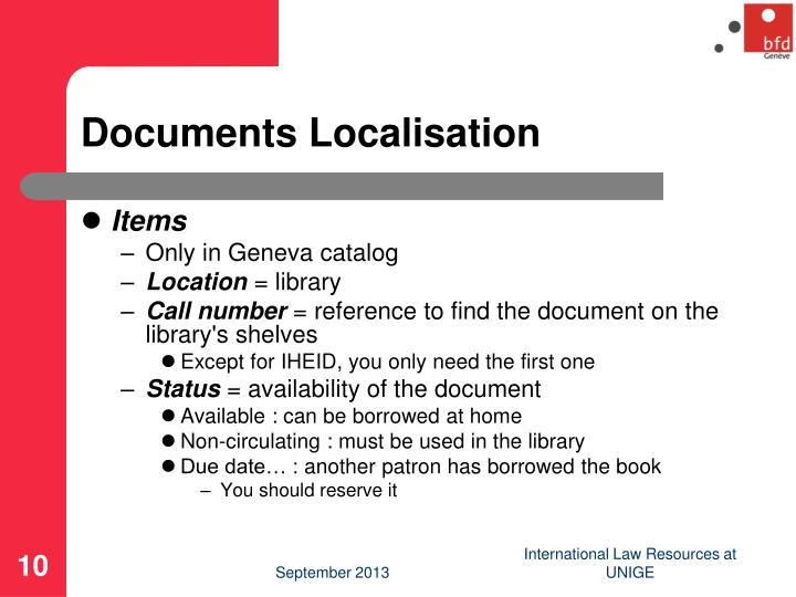 Documents Localisation