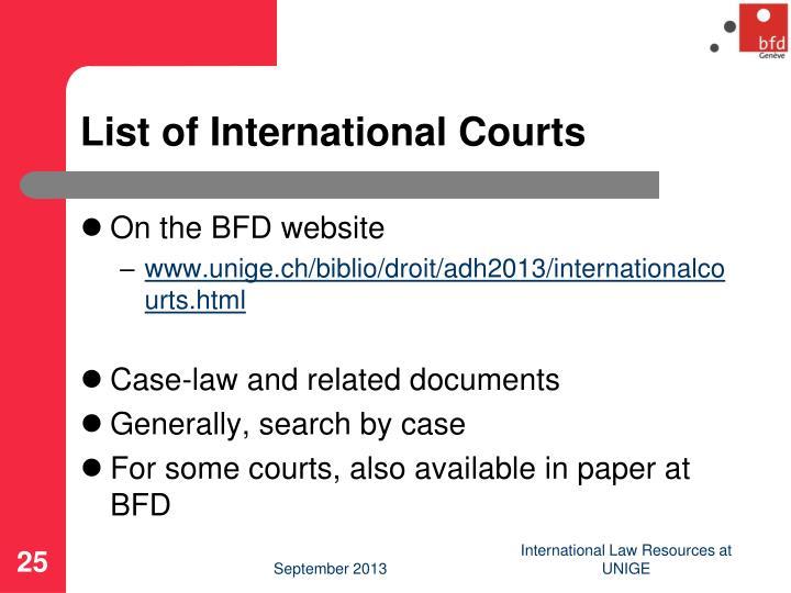 List of International Courts