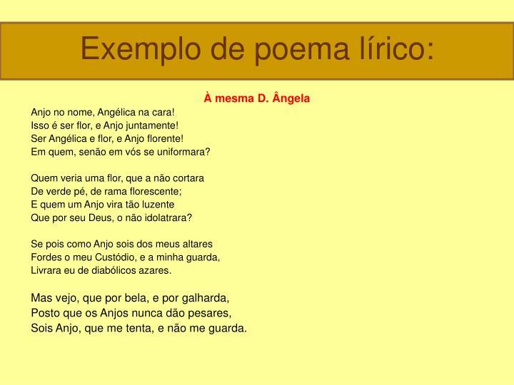 Exemplo de poema lírico: