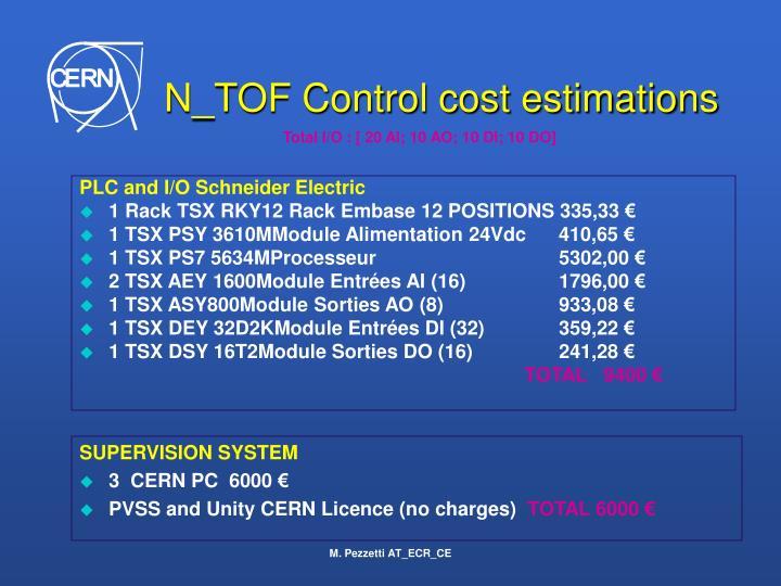 N_TOF Control cost estimations