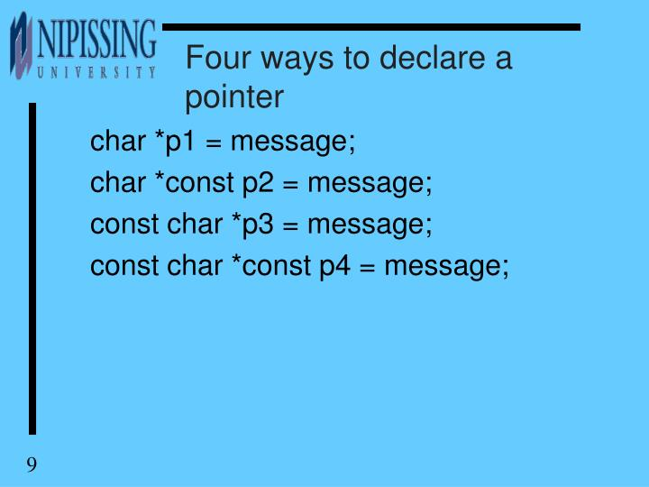 Four ways to declare a pointer