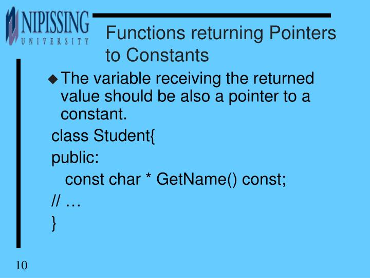 Functions returning Pointers to Constants