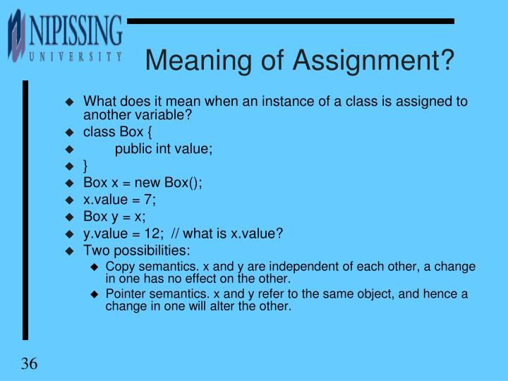 Meaning of Assignment?