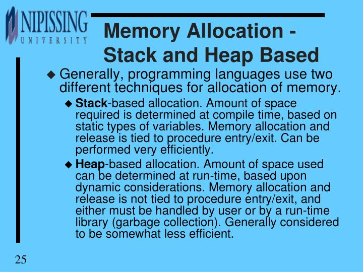 Memory Allocation - Stack and Heap Based