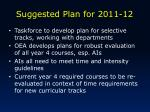 suggested plan for 2011 12