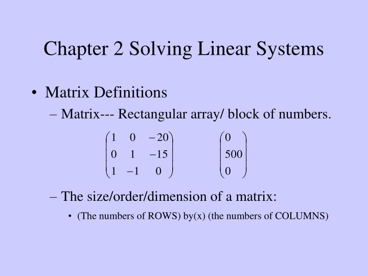 chapter 2 solving linear systems n.