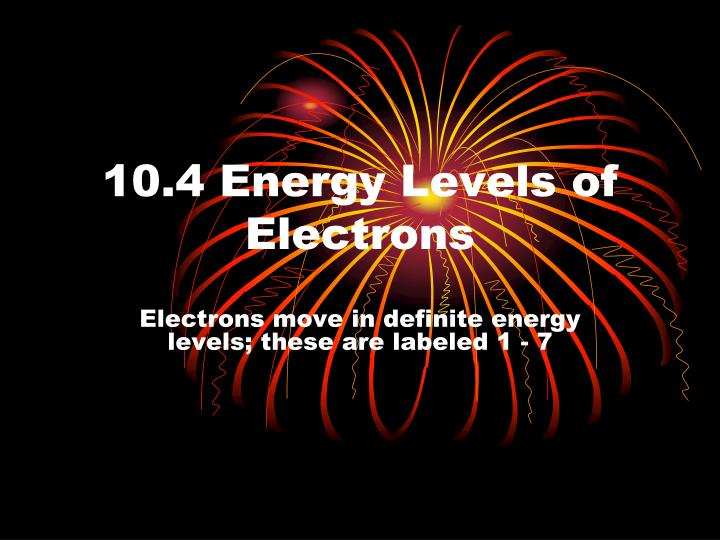 10 4 energy levels of electrons n.
