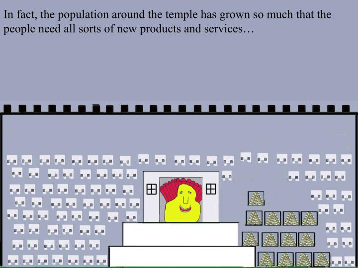 In fact, the population around the temple has grown so much that the people need all sorts of new products and services…