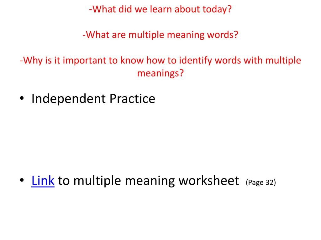 PPT - Learning Objective: Identify and interpret words with