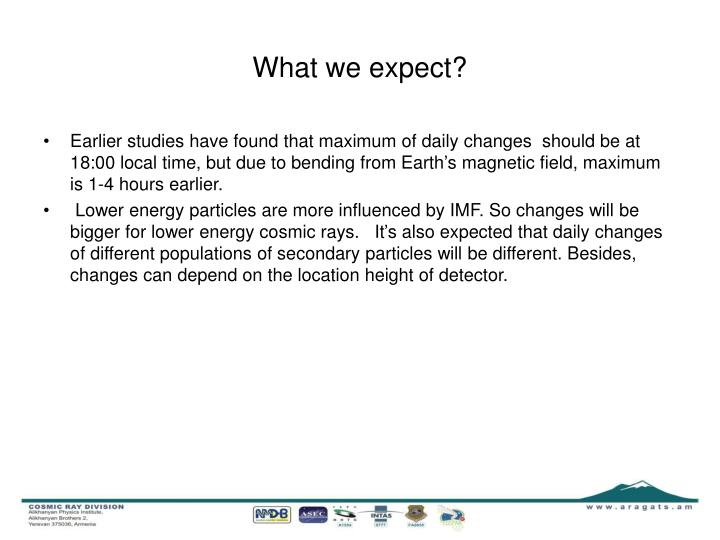 What we expect?