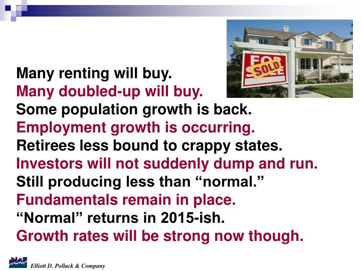 Many renting will buy.
