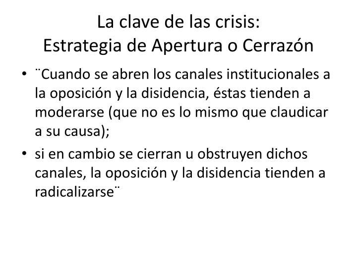 La clave de las crisis estrategia de apertura o cerraz n
