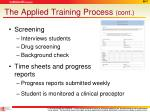 the applied training process cont