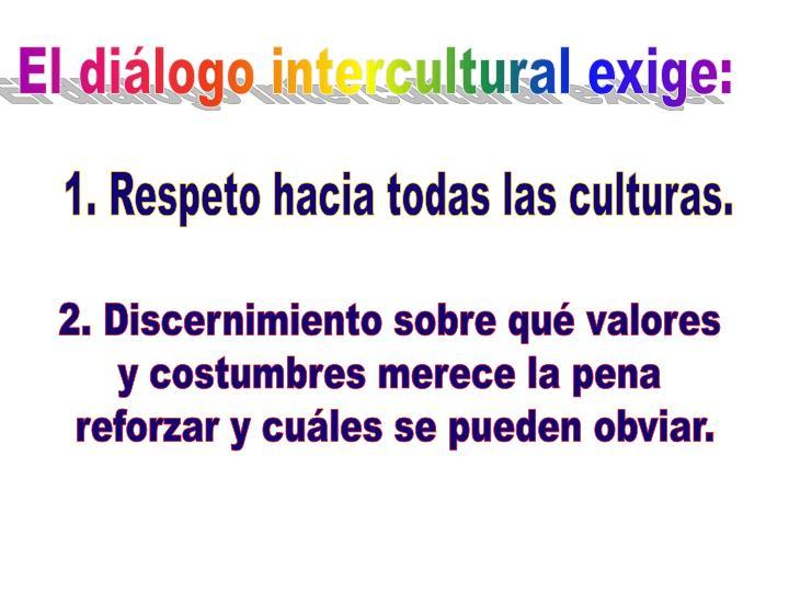 El diálogo intercultural exige: