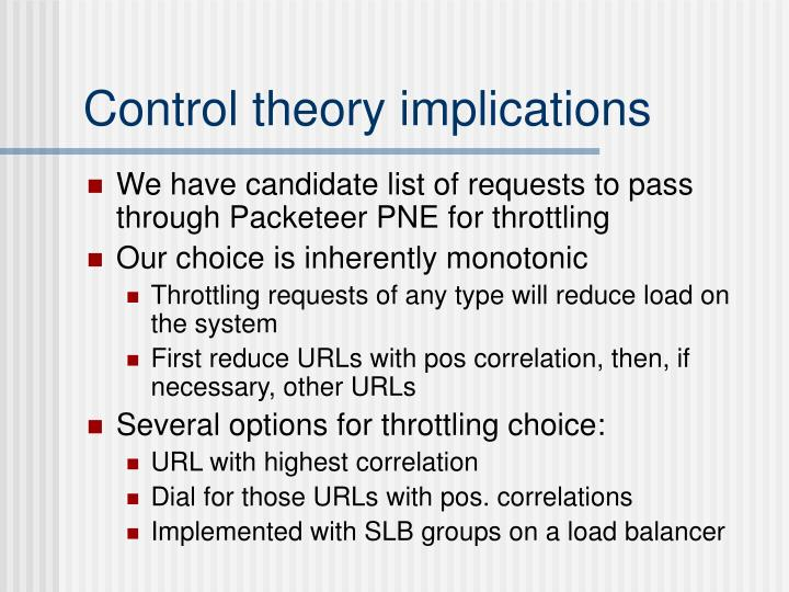 Control theory implications