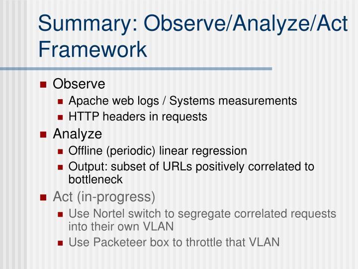 Summary: Observe/Analyze/Act Framework