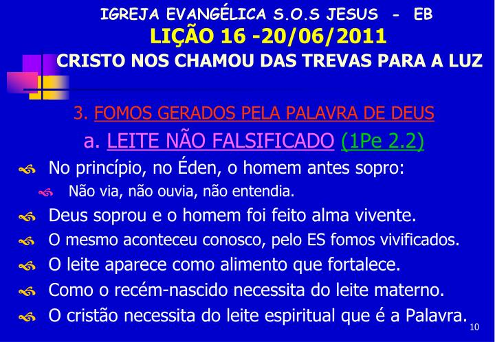 IGREJA EVANGÉLICA S.O.S JESUS  -  EB
