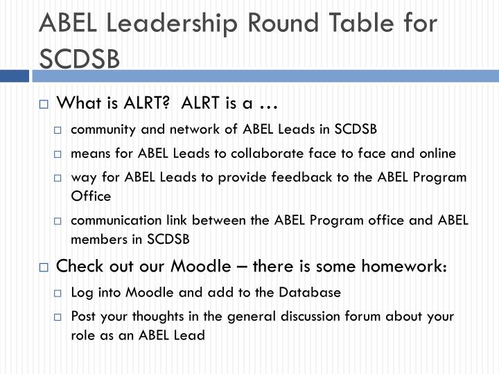 ABEL Leadership Round Table for SCDSB