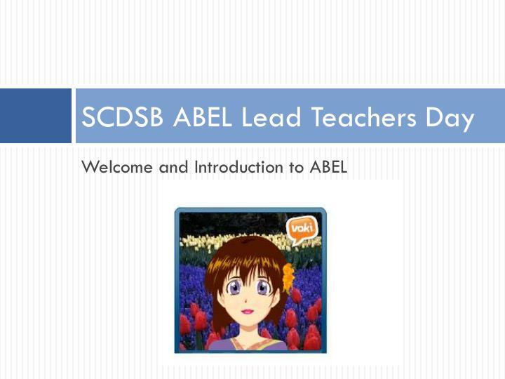 Scdsb abel lead teachers day