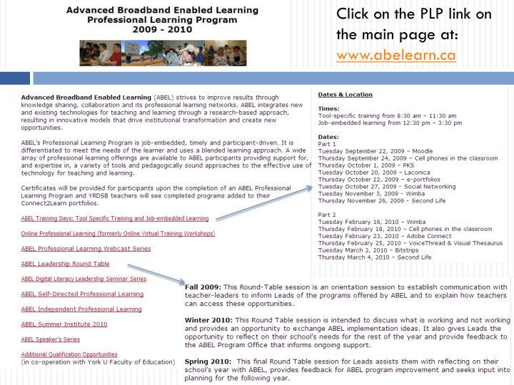 Click on the PLP link on the main page at: