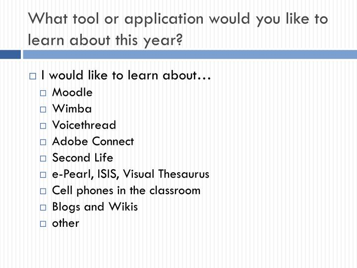 What tool or application would you like to learn about this year?