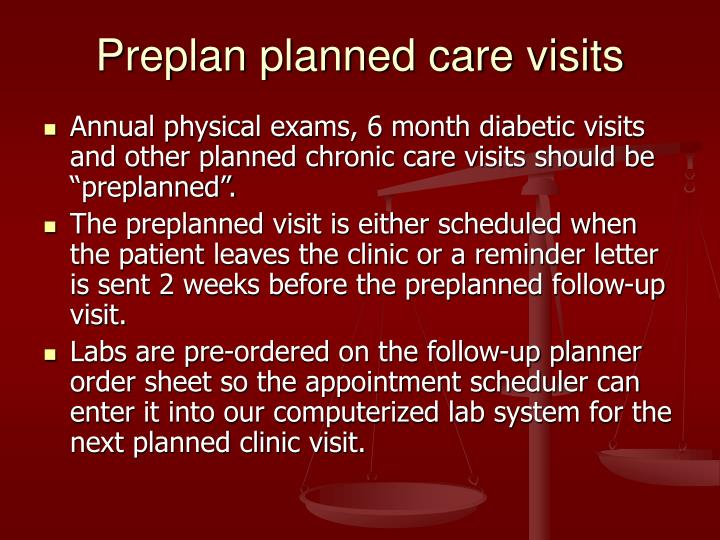 Preplan planned care visits