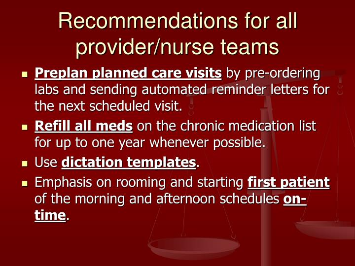 Recommendations for all provider/nurse teams