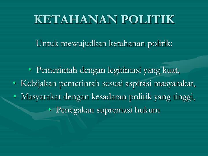 KETAHANAN POLITIK