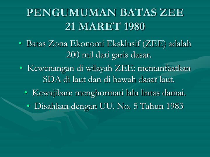 PENGUMUMAN BATAS ZEE
