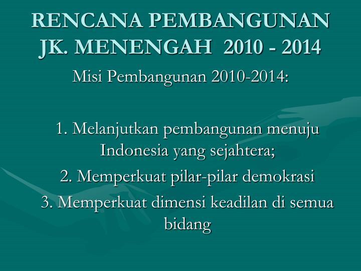RENCANA PEMBANGUNAN JK. MENENGAH  2010 - 2014