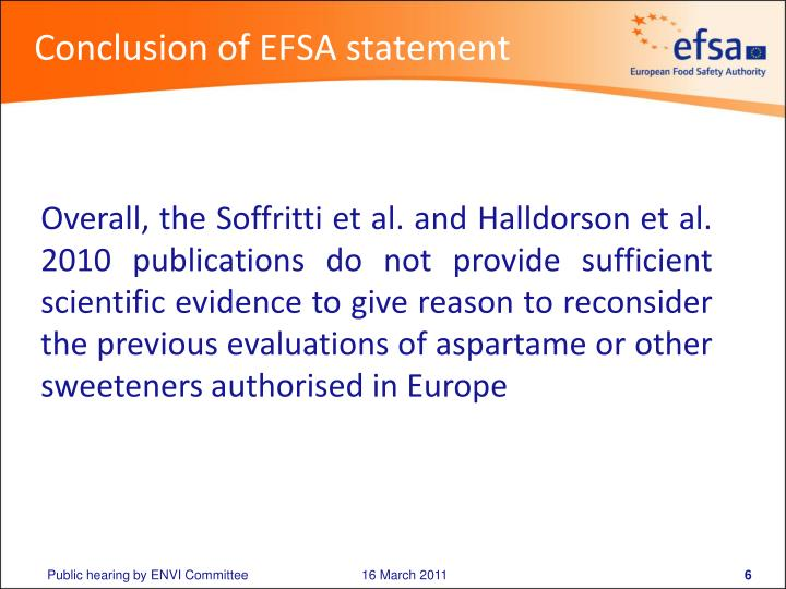 Conclusion of EFSA statement