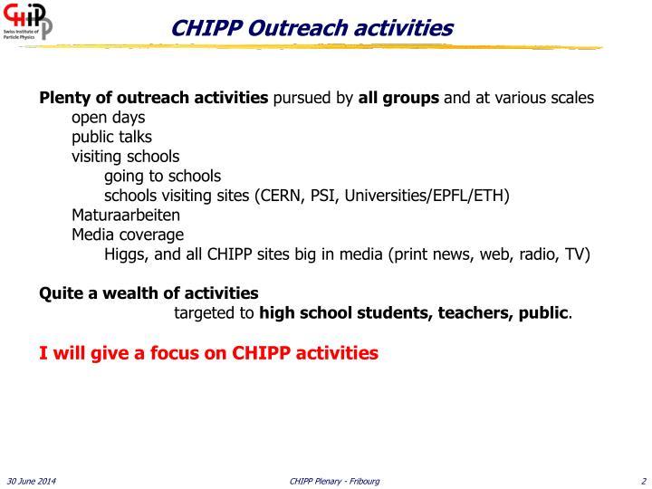 Chipp outreach activities