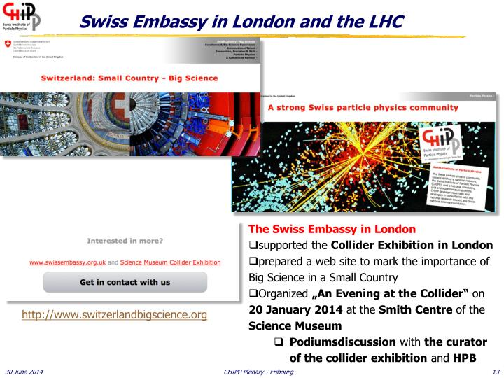 Swiss Embassy in London and the LHC